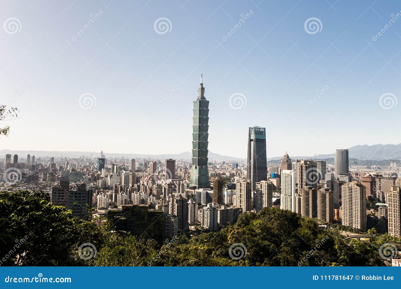Vista da construção do World Trade Center de Taipei 101
