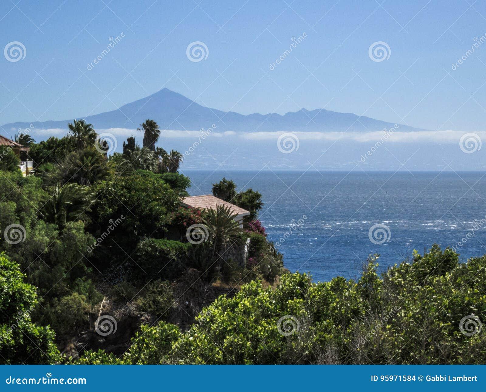 Vista da montagem Teide do La Gomera, Canaries