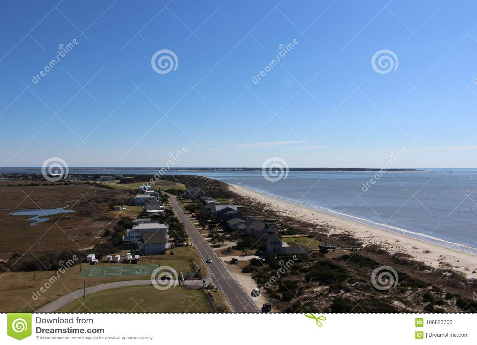 Vista da parte superior do farol da ilha do carvalho