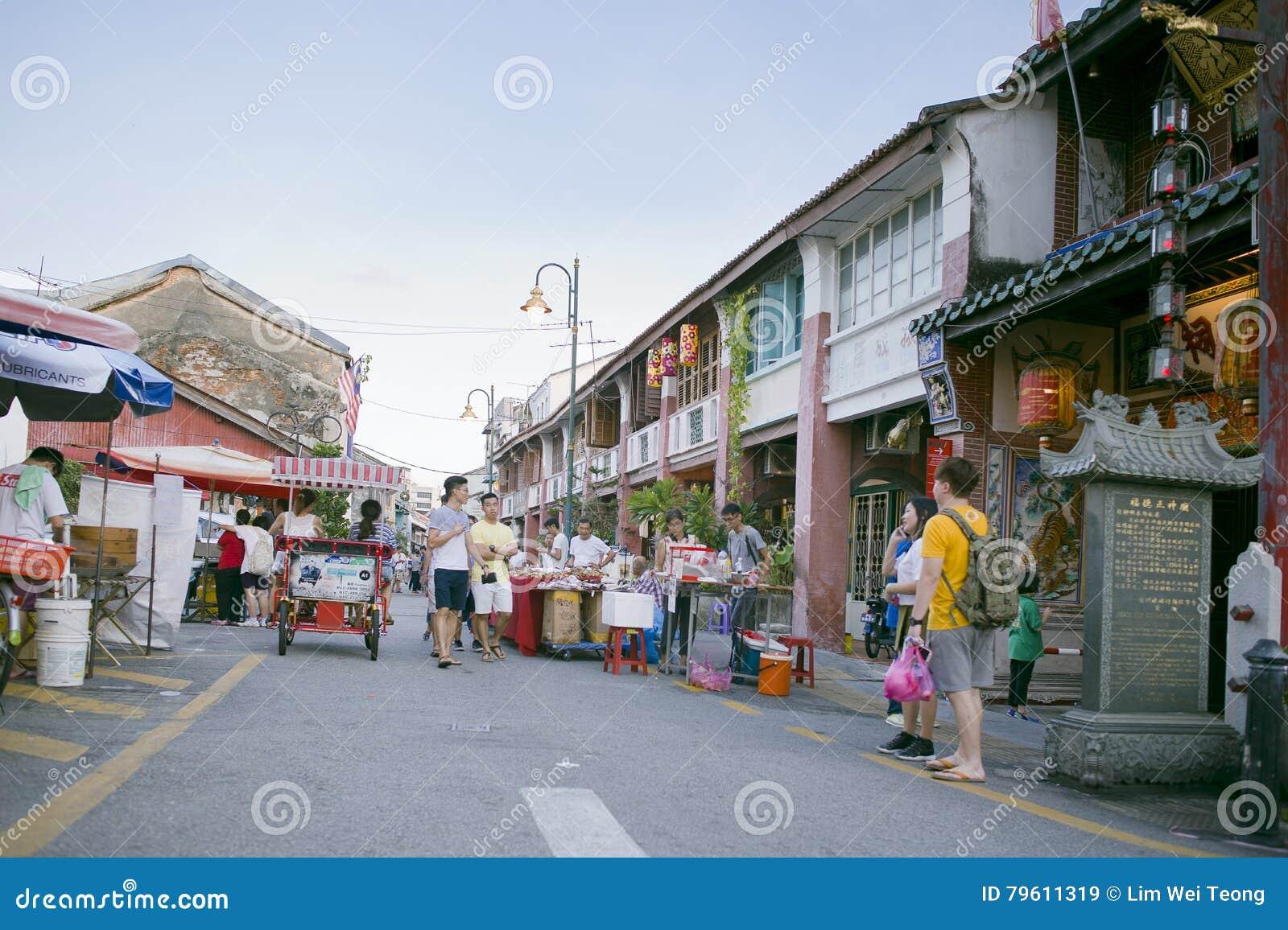 Vista da rua armênia, George Town, Penang, Malásia