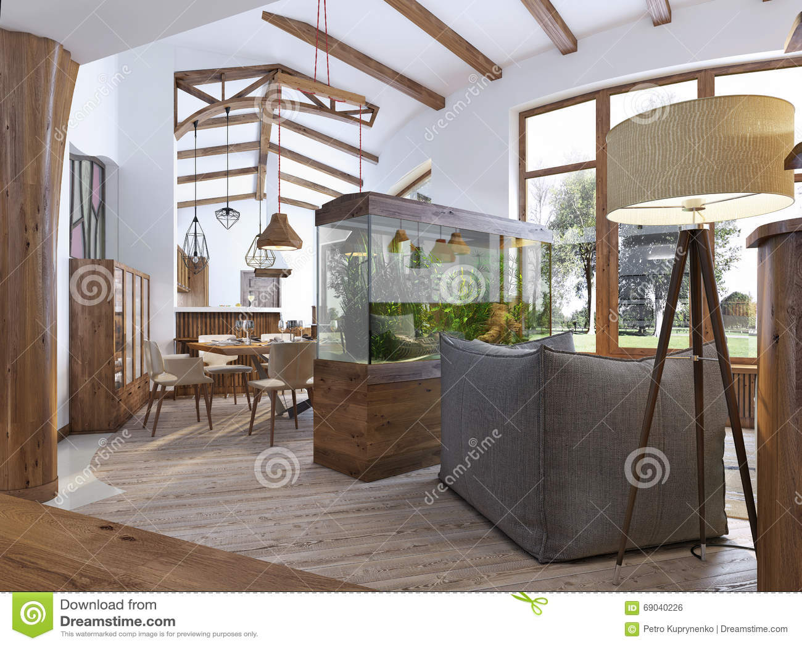 Vista dal corridoio nel salone con un acquario nella t for Acquario casa prezzi