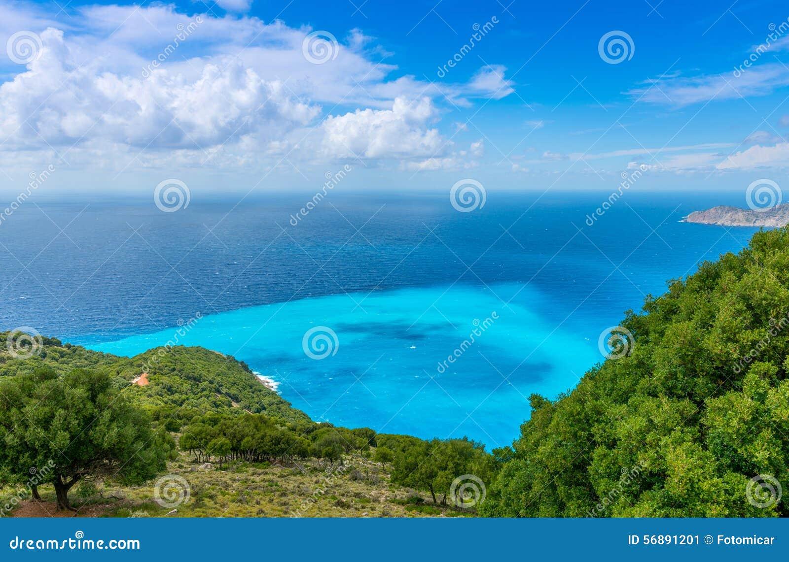 Vista dalla spiaggia di Myrtos