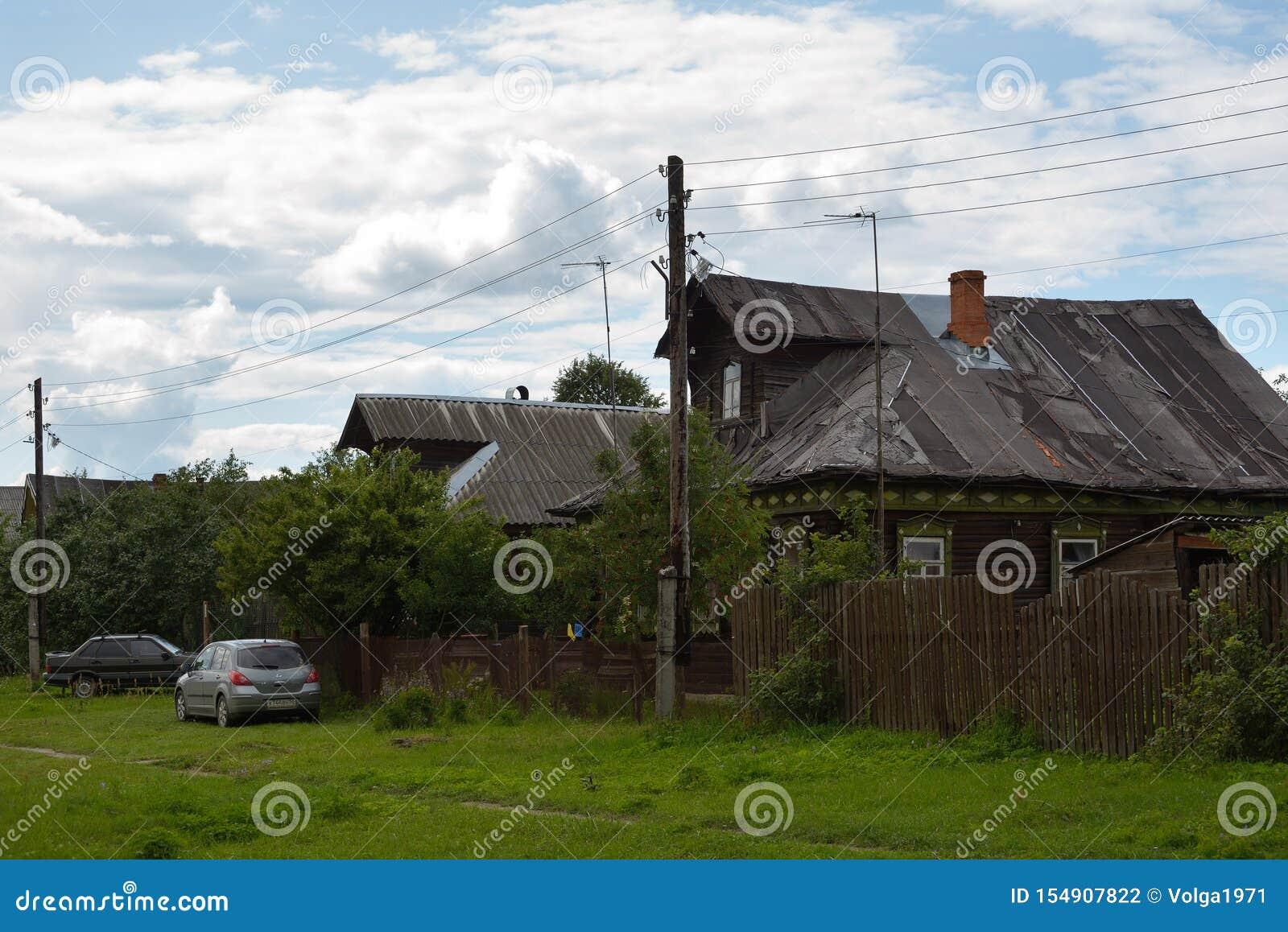 Vista de casas de madera viejas