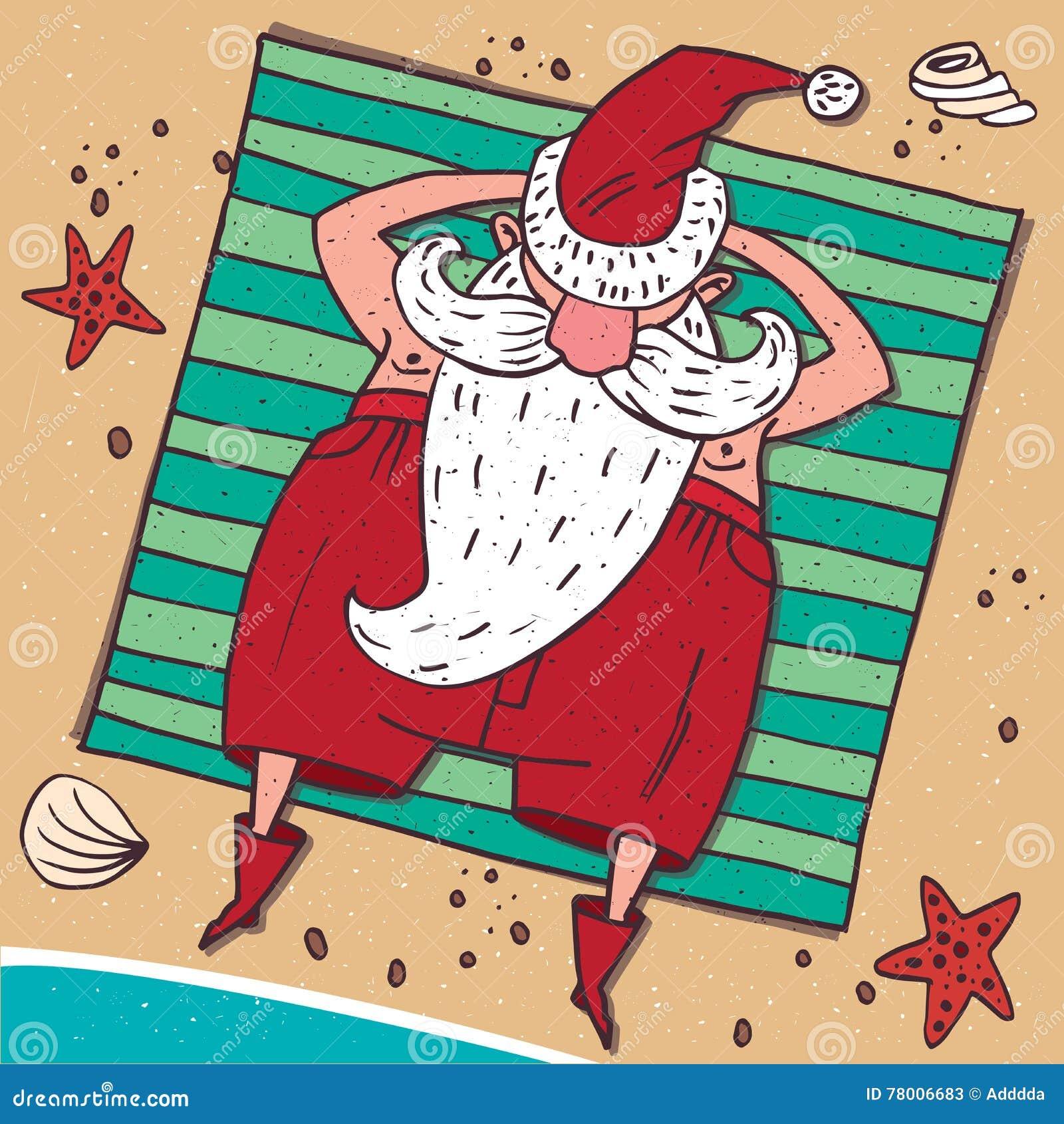 Vista de cima em Santa Claus na praia