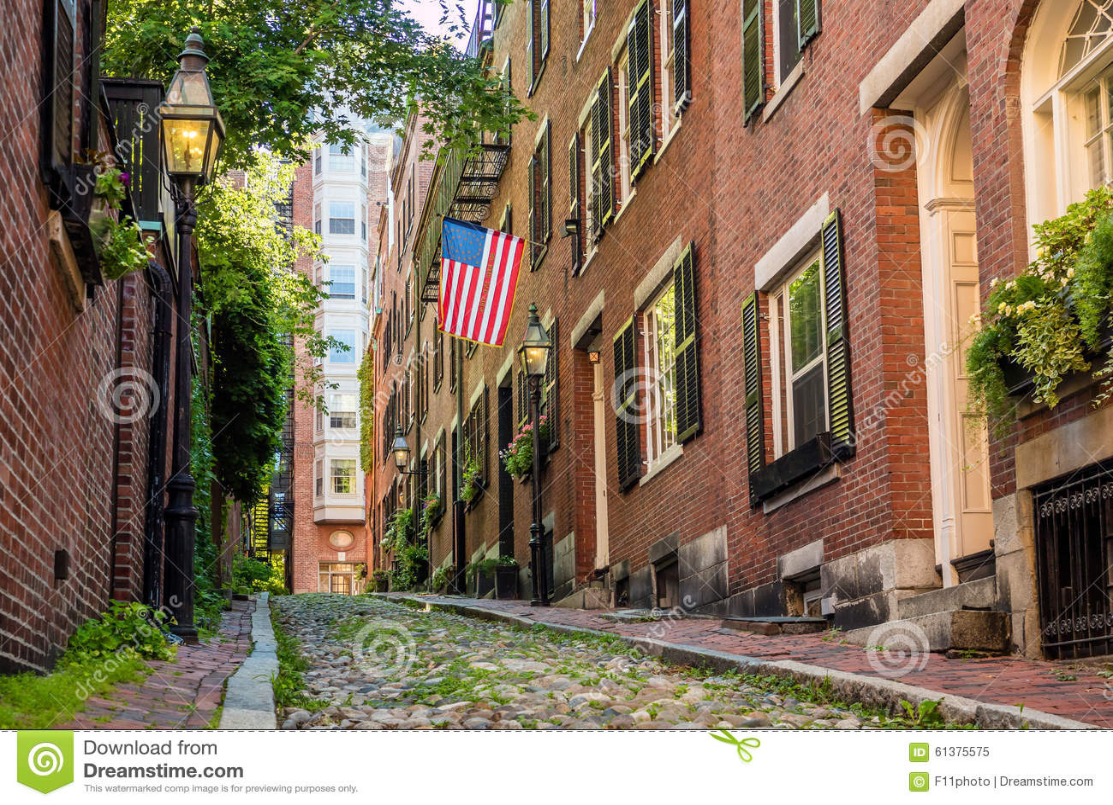 Vista de la calle histórica de la bellota en Boston