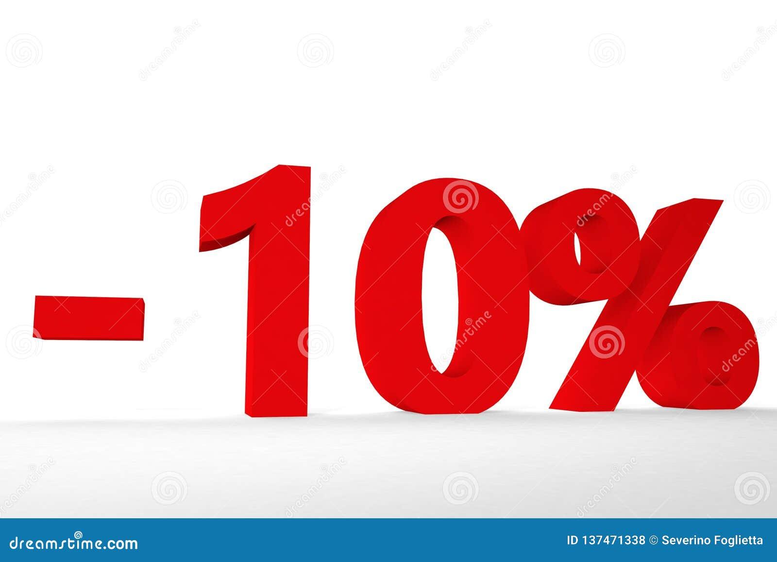 Vista de la inscripción menos el diez por ciento del ejemplo del color rojo 3d