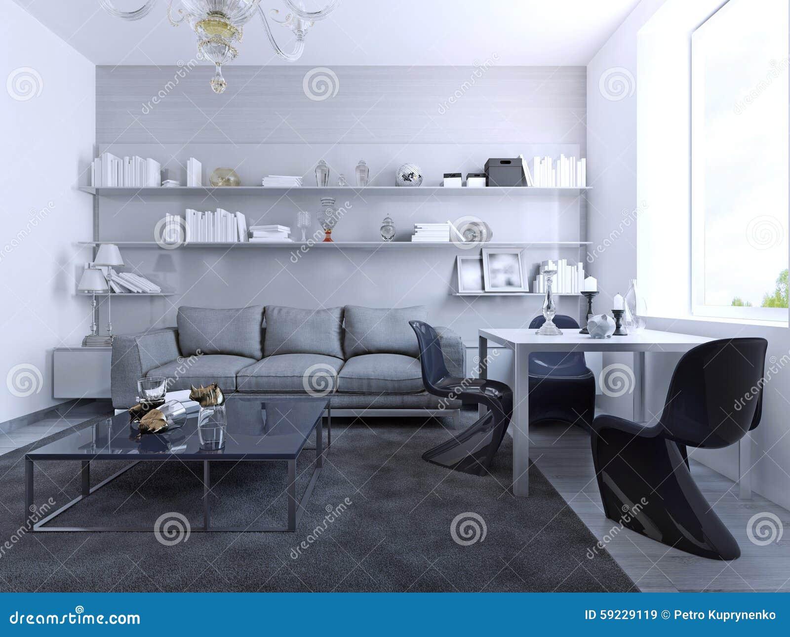 Vista de la sala de estar con la mesa de comedor