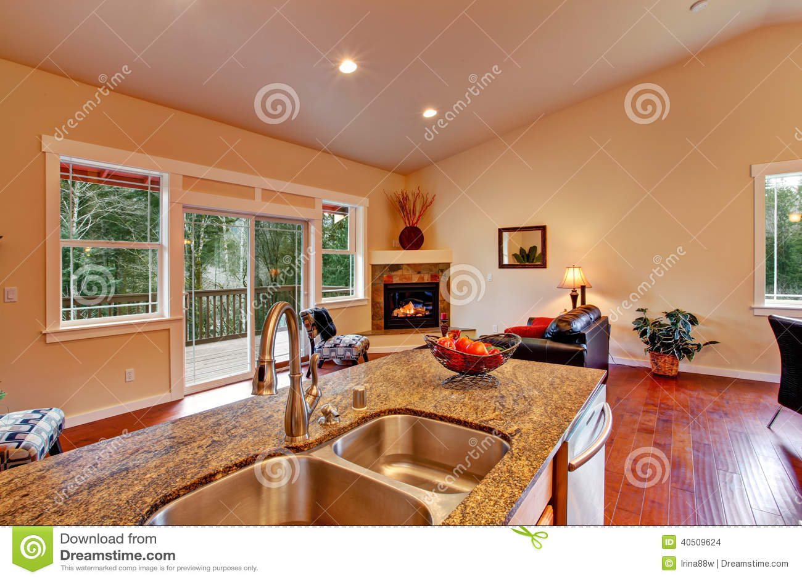 Vista de la sala de estar del rea de la cocina foto de for Sala de estar vista desde arriba