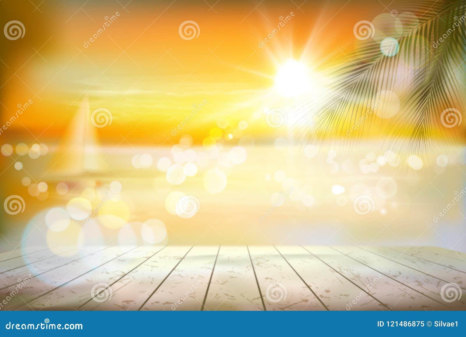 Vista de una playa tropical con un velero Salida del sol Ilustración del vector