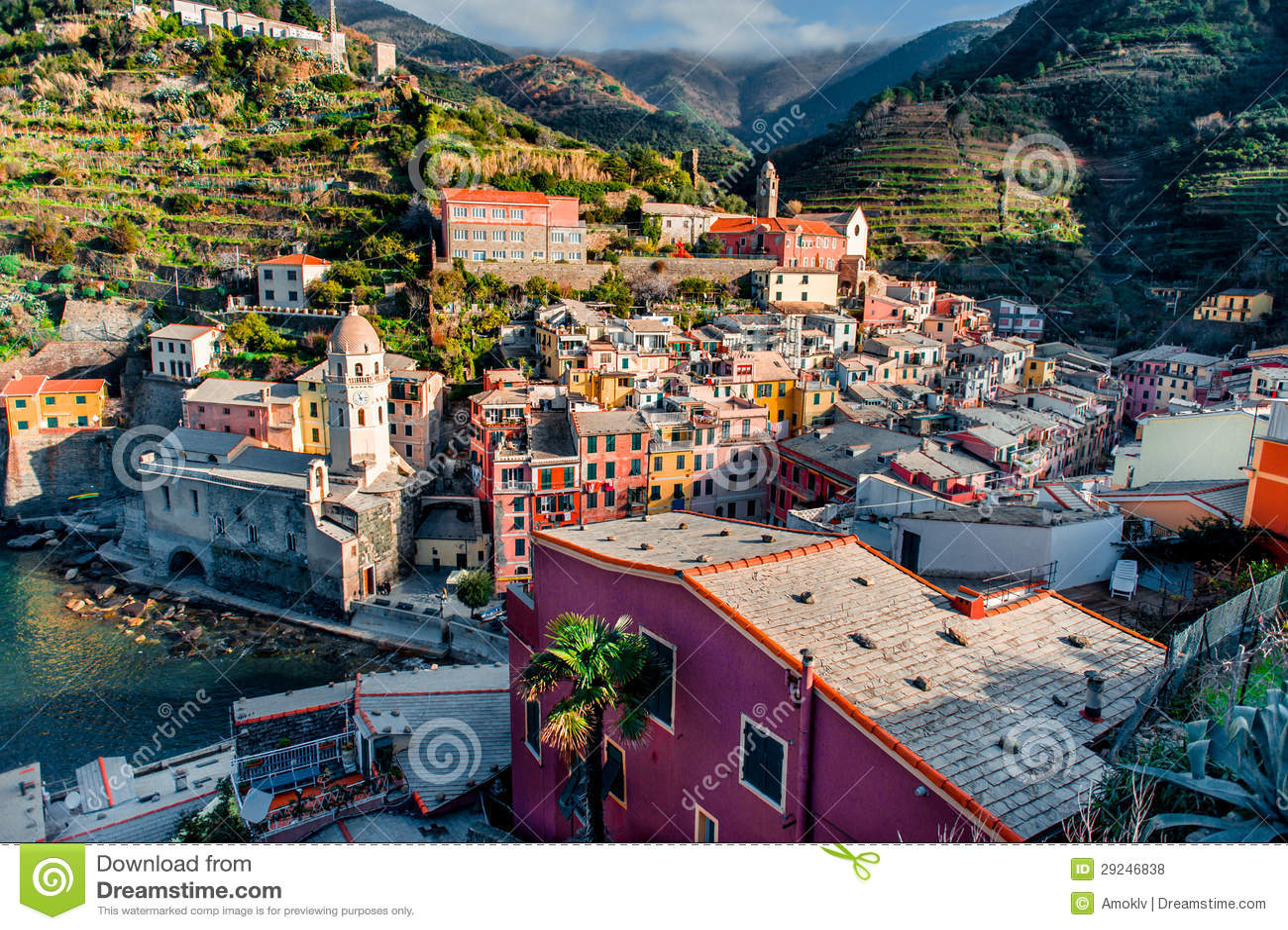 Download Vista de Vernazza foto de stock. Imagem de histórico - 29246838