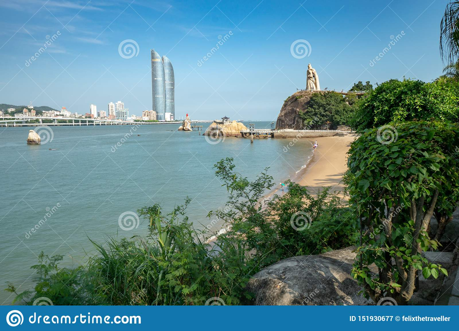 Vista de Xiamen da ilha de Gulangyu