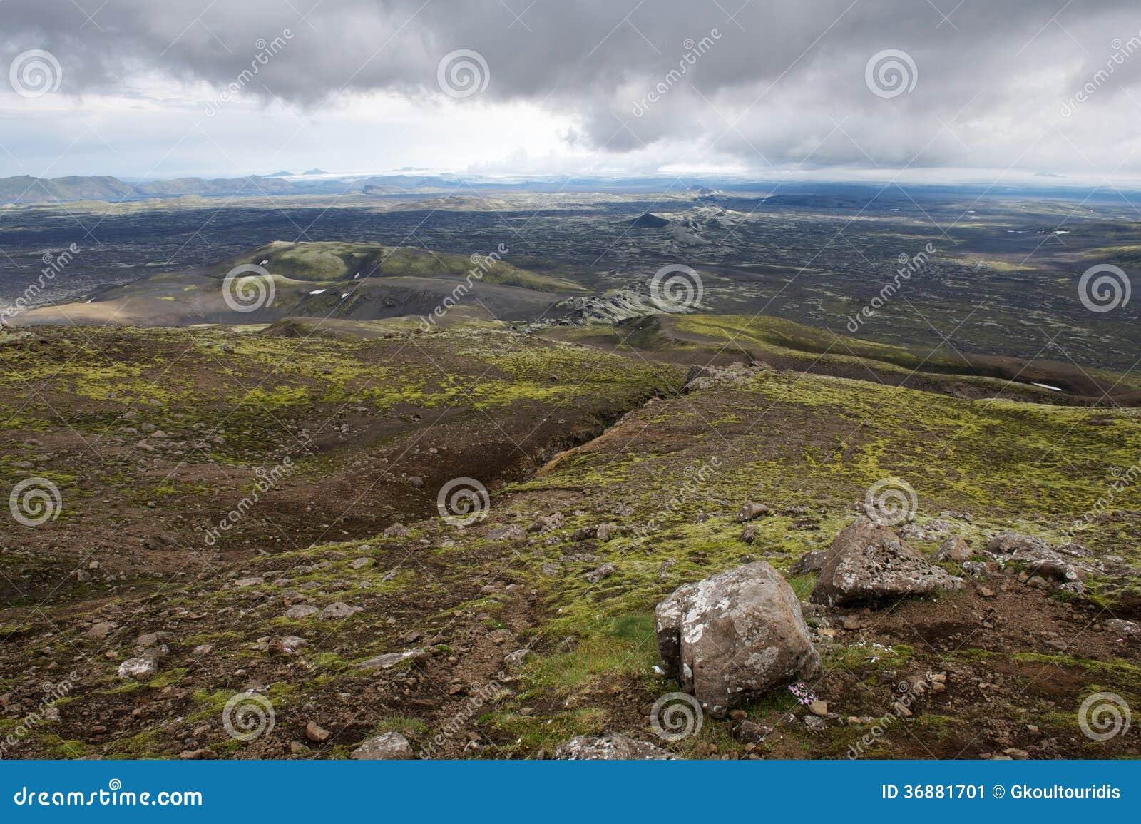 Download Vista Dei Crateri Di Eruzione A Lakagigar, Islanda Immagine Stock - Immagine di collina, artico: 36881701