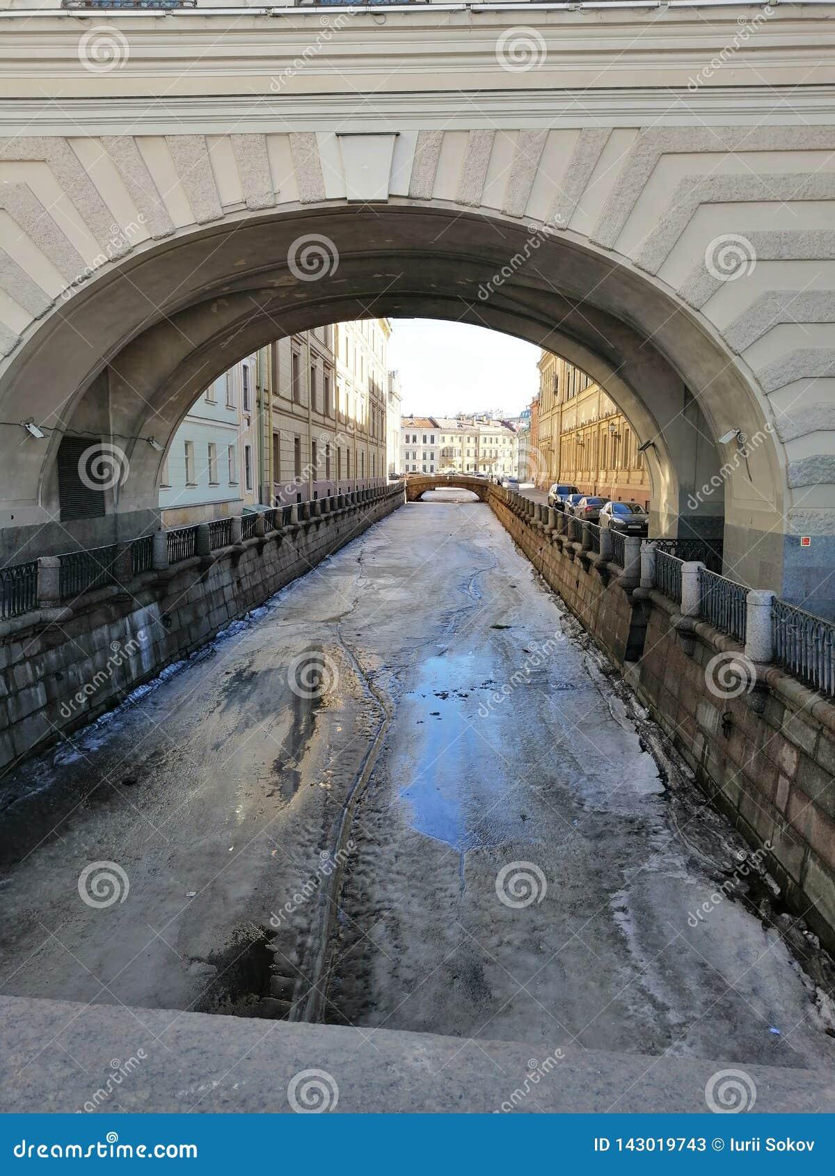 Vista del canal, de los arcos y del puente congelados