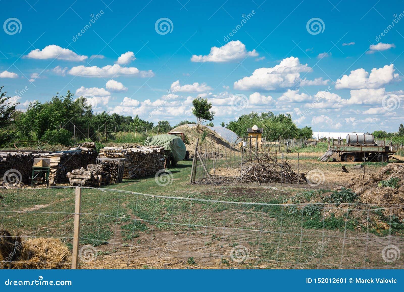 Vista del cortile posteriore sull azienda agricola rurale