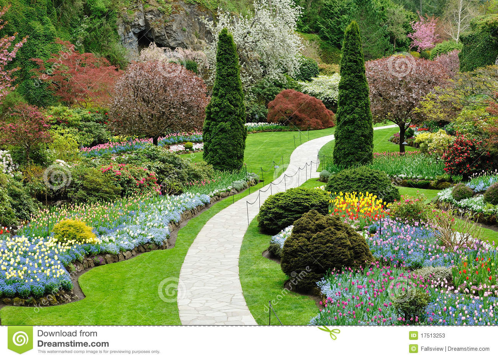 Vista del giardino della sorgente