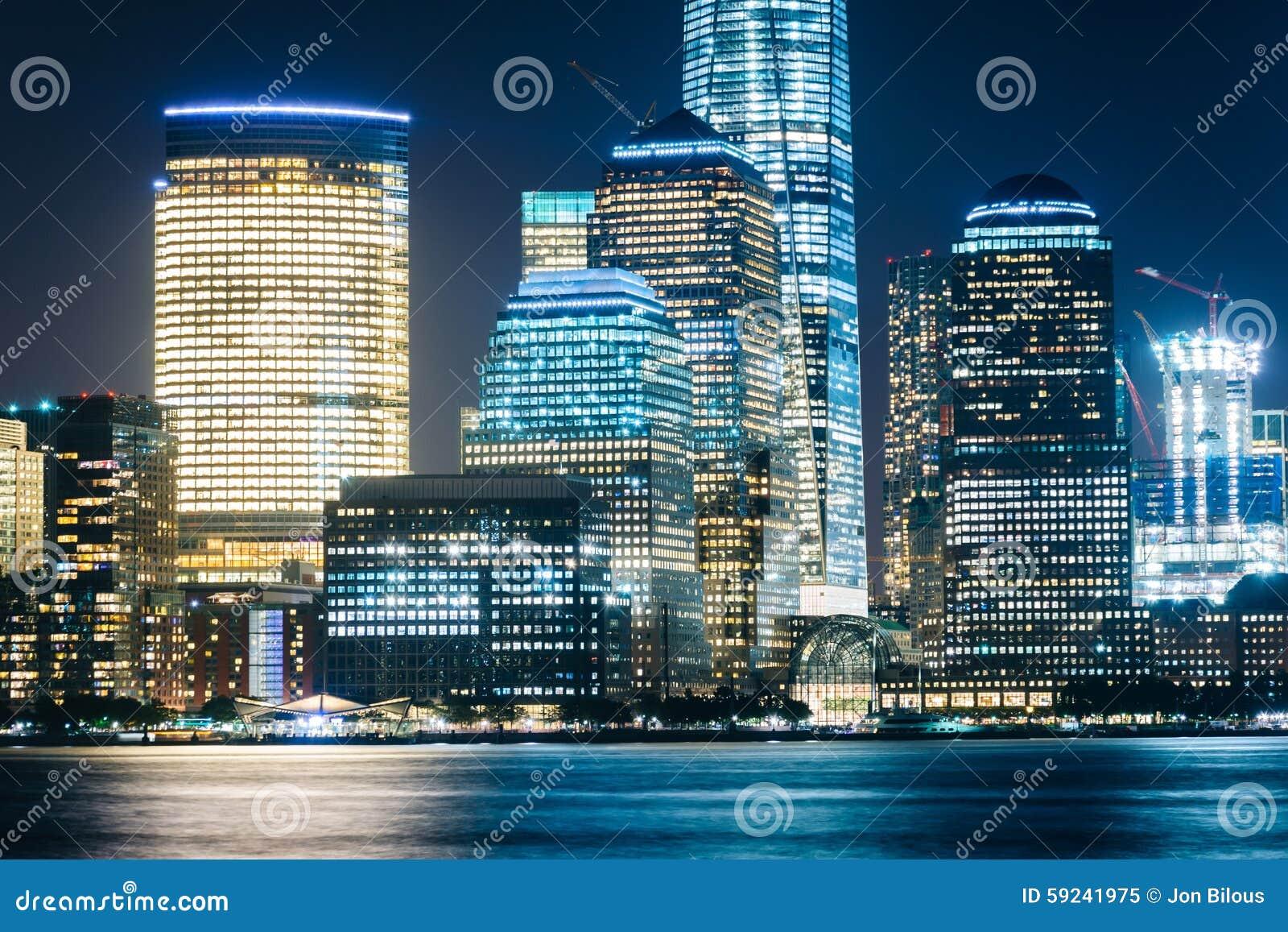 Download Vista Del Horizonte Del Lower Manhattan En La Noche, Del Intercambio Plac Imagen de archivo - Imagen de urbano, configuración: 59241975