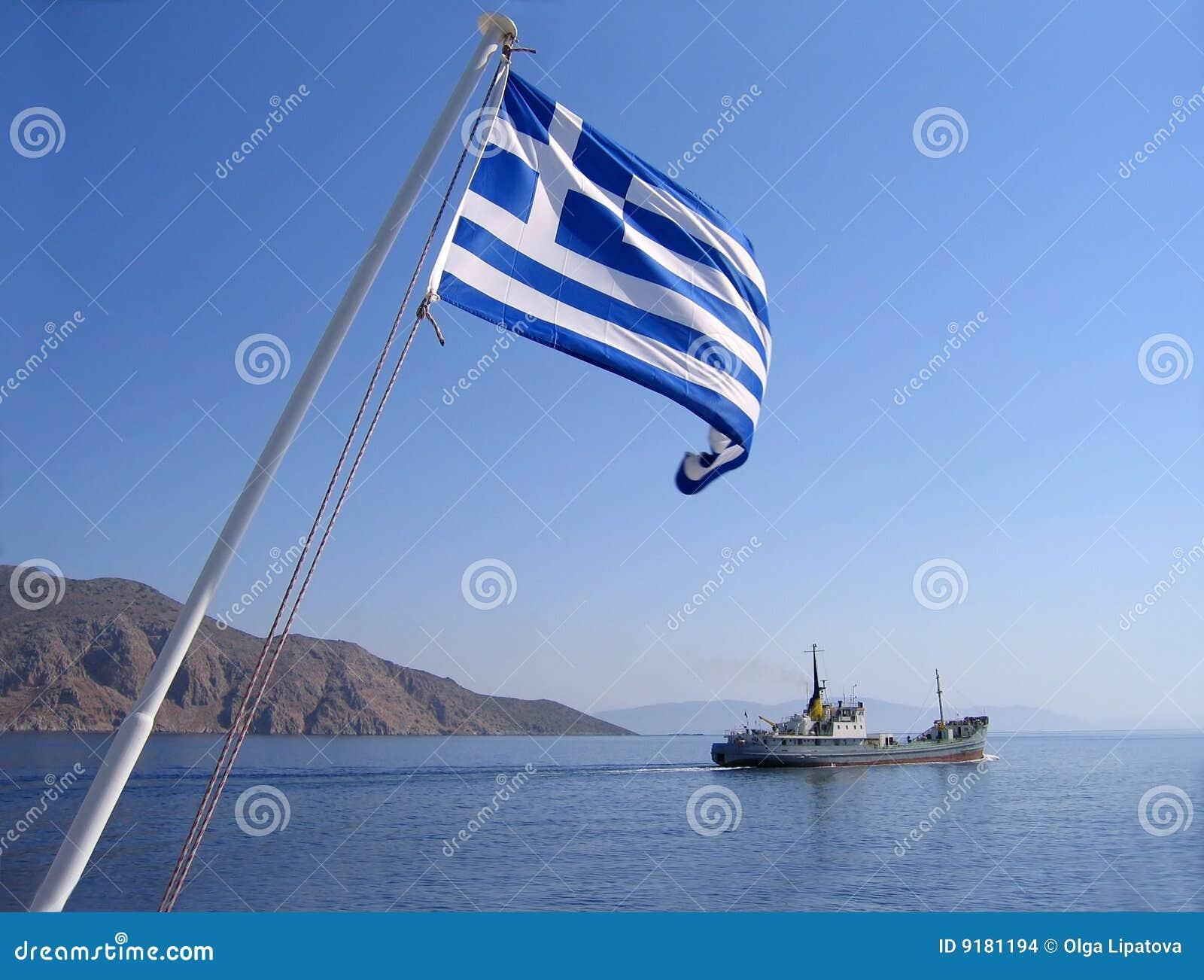 Vista del mare con la bandierina greca