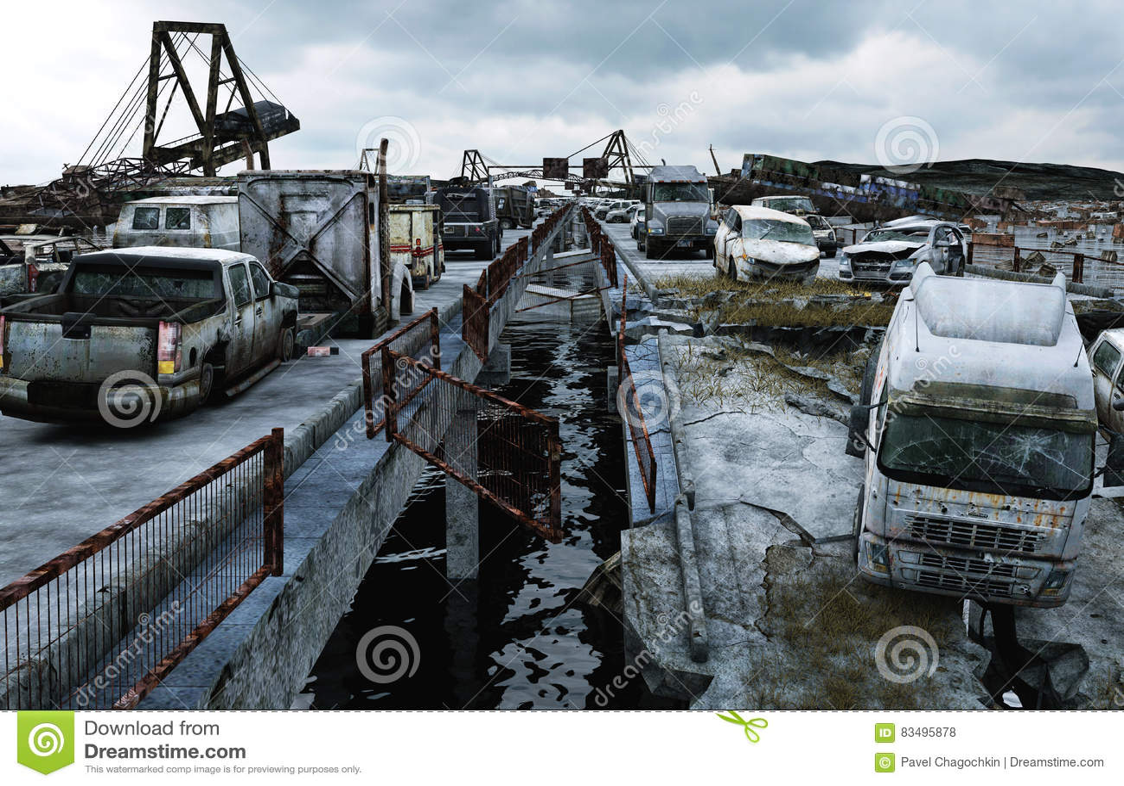 Vista del mare di apocalisse Ponticello distrusso Concetto di Armageddon rappresentazione 3d