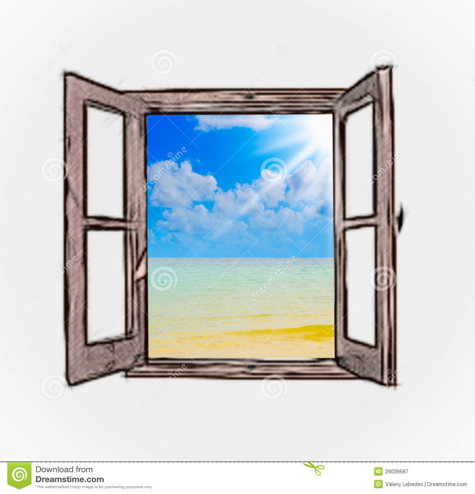 Vista del mare tramite una finestra aperta illustrazione for Disegno di finestra aperta