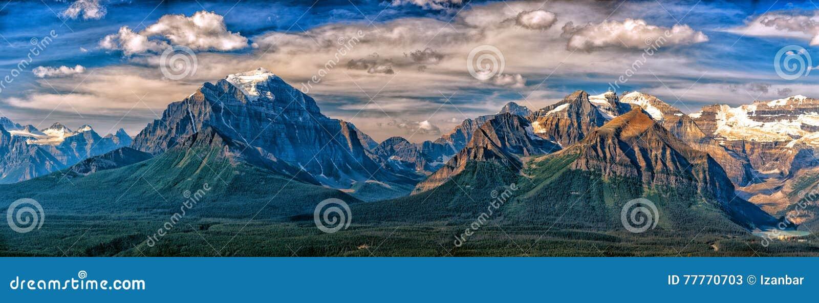 Vista del paesaggio del Canada Rocky Mountains Panorama