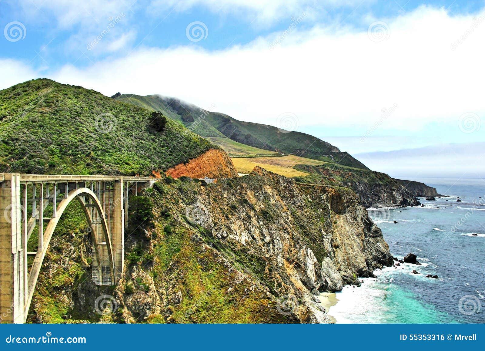 Vista del ponte di Bixby a Big Sur