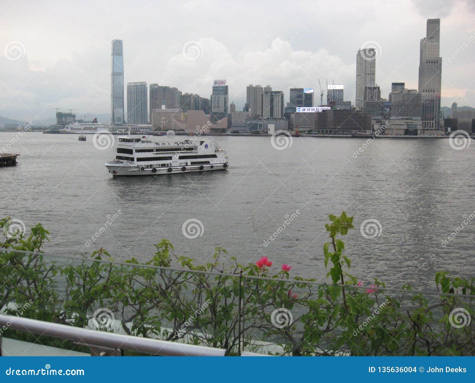 Vista del porto dal pilastro del traghetto di Wan Chai, Hong Kong