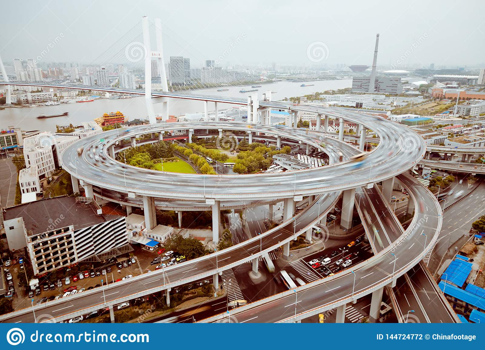 Vista del puente de Shangai Nanpu, Shangai, China vista del puente de Shangai Nanpu, Shangai, China