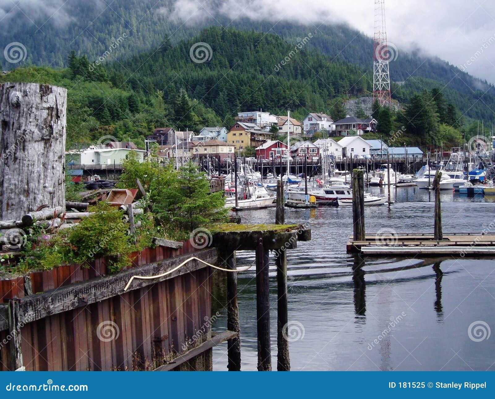 Vista del puerto de Ketchkan Alaska