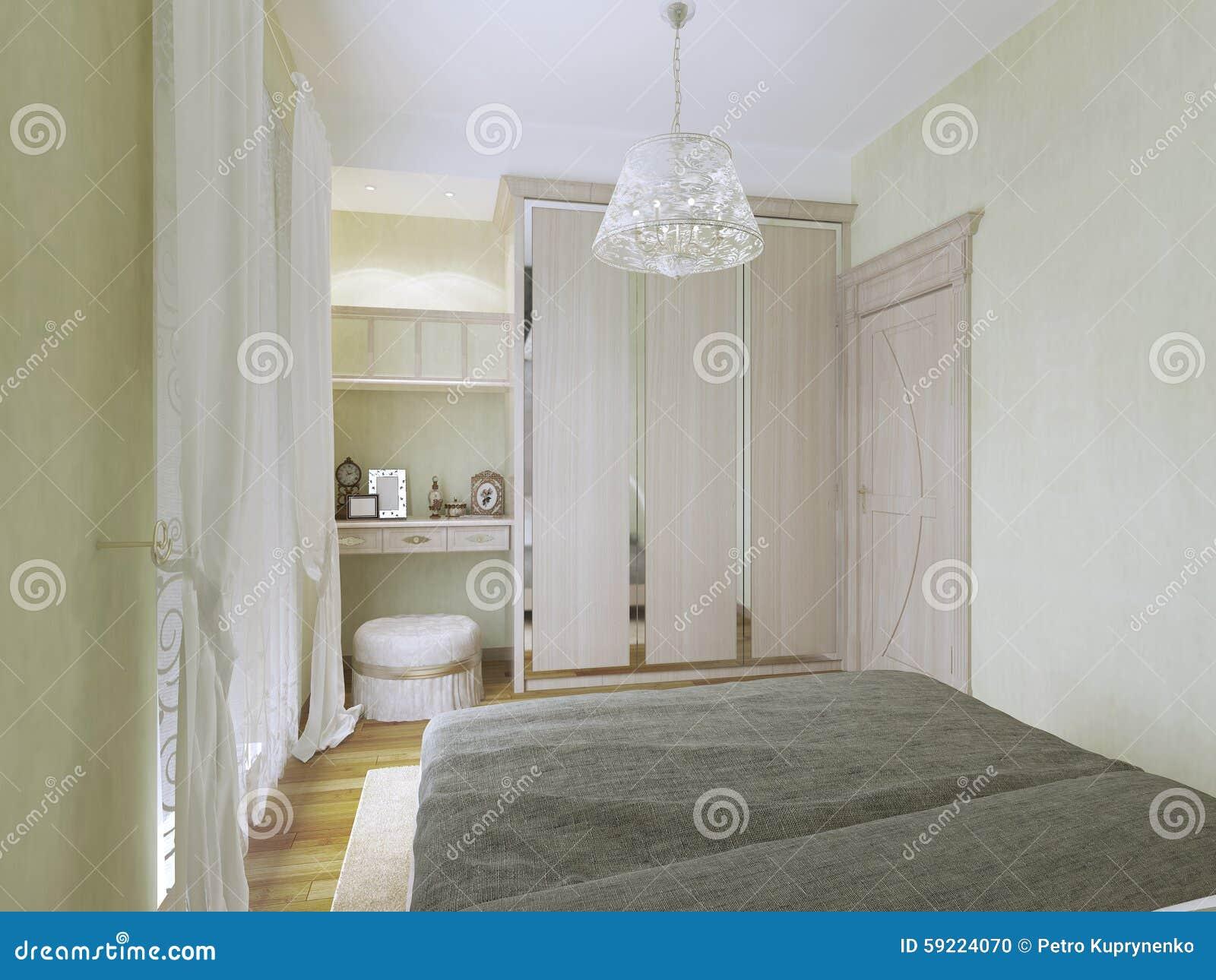 vista del tocador y del guardarropa en dormitorio moderno foto de archivo
