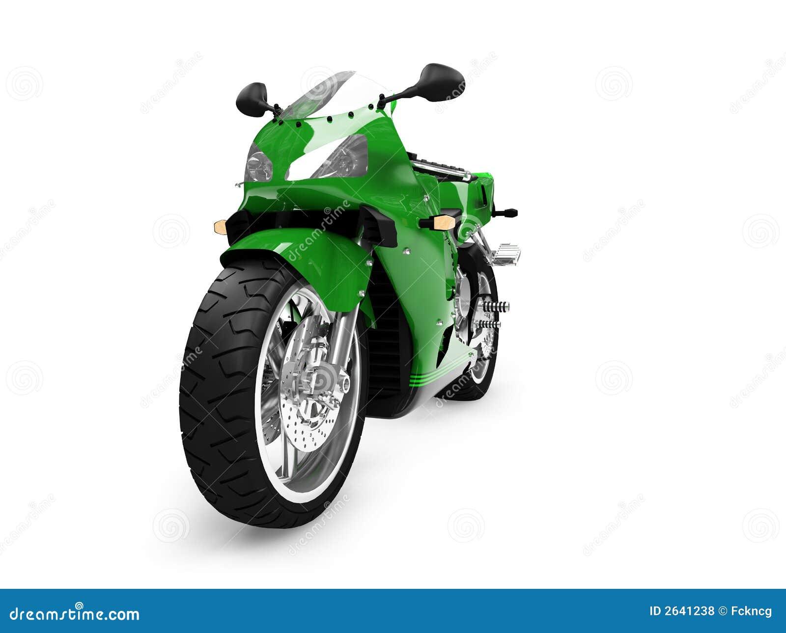 Vista delantera aislada de la motocicleta