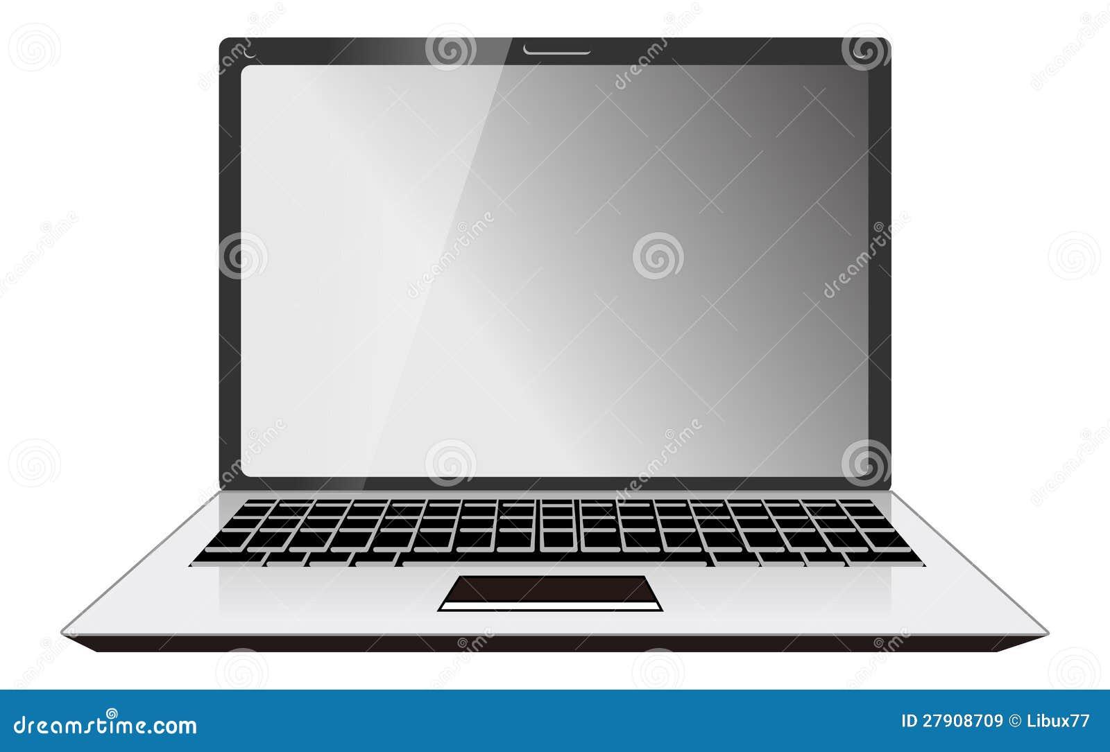 Vista delantera de la computadora portátil del ordenador