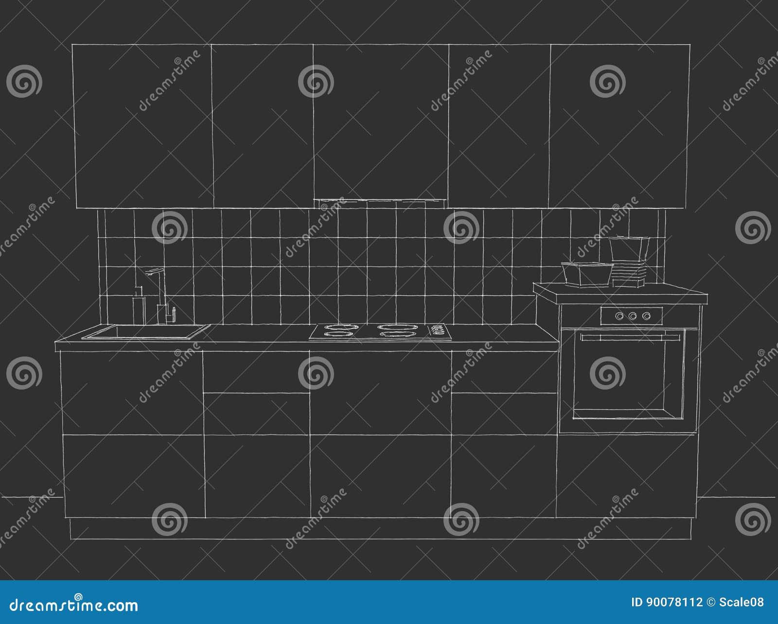 Vista Delantera De Los Muebles Simples De La Cocina En La Pizarra  # Muebles Pizarra