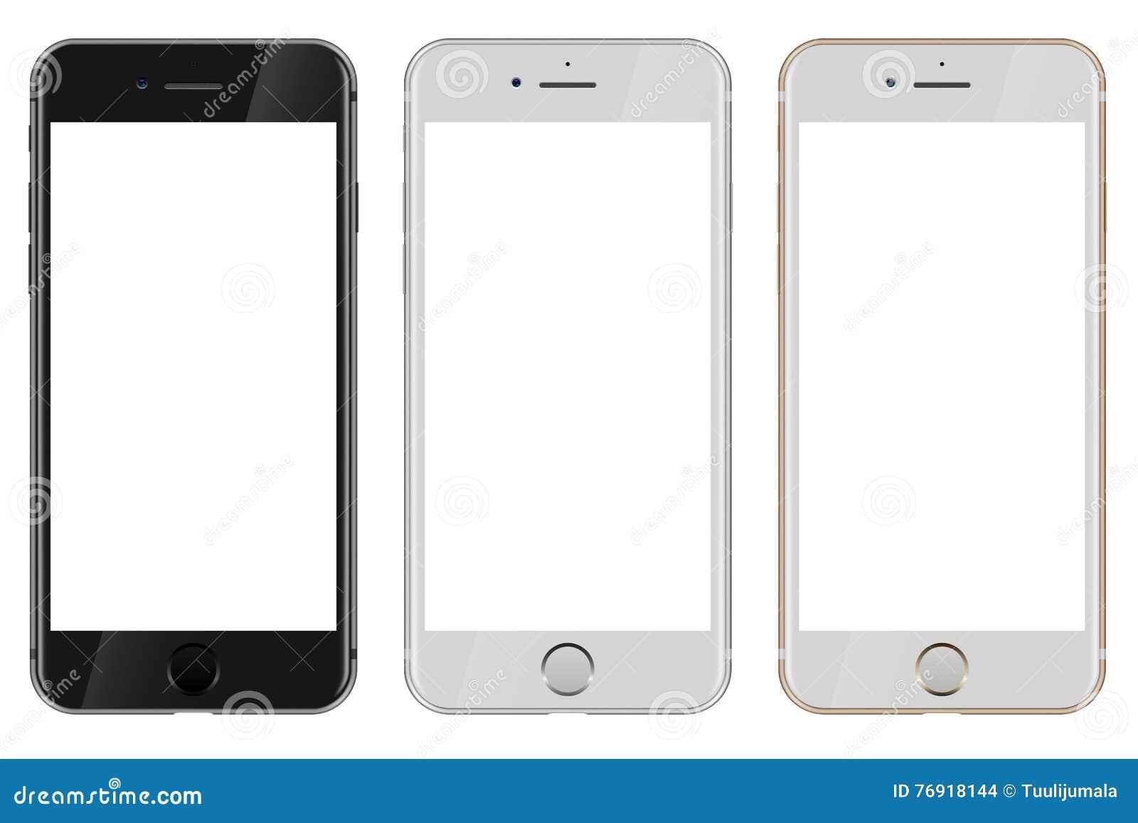 Vista delantera de negro, del blanco y del iPhone 7 de Apple del oro con el wh en blanco