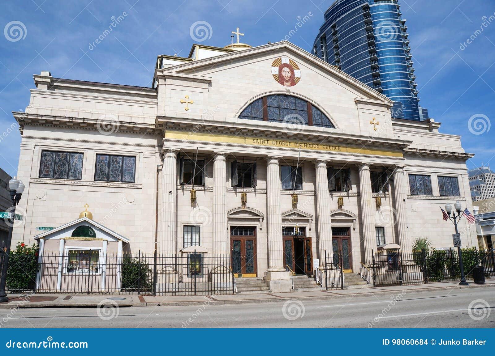 Vista delantera de St George Antiochian Orthodox Church en Orlando Florida Downtown Orlando, la Florida, Estados Unidos