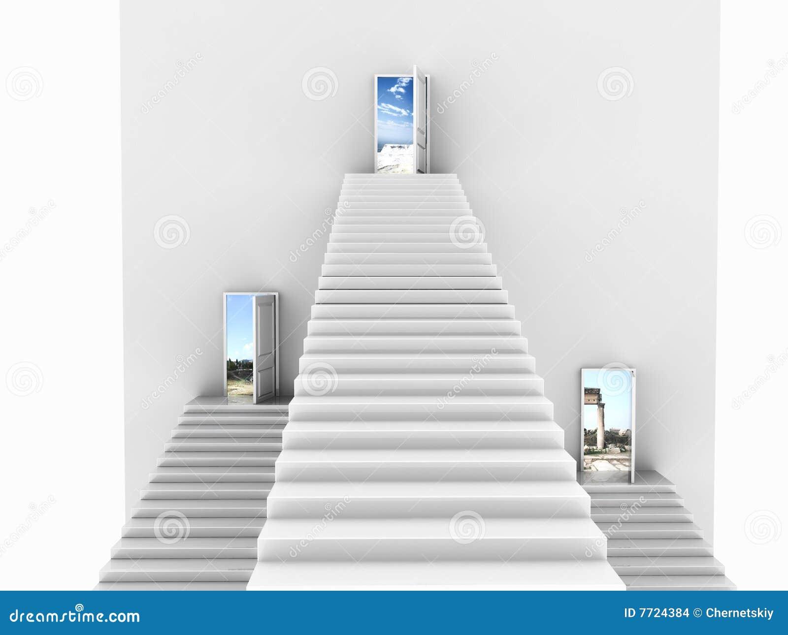 Vista delantera de tres escaleras blancas que suben para - Escaleras blancas ...