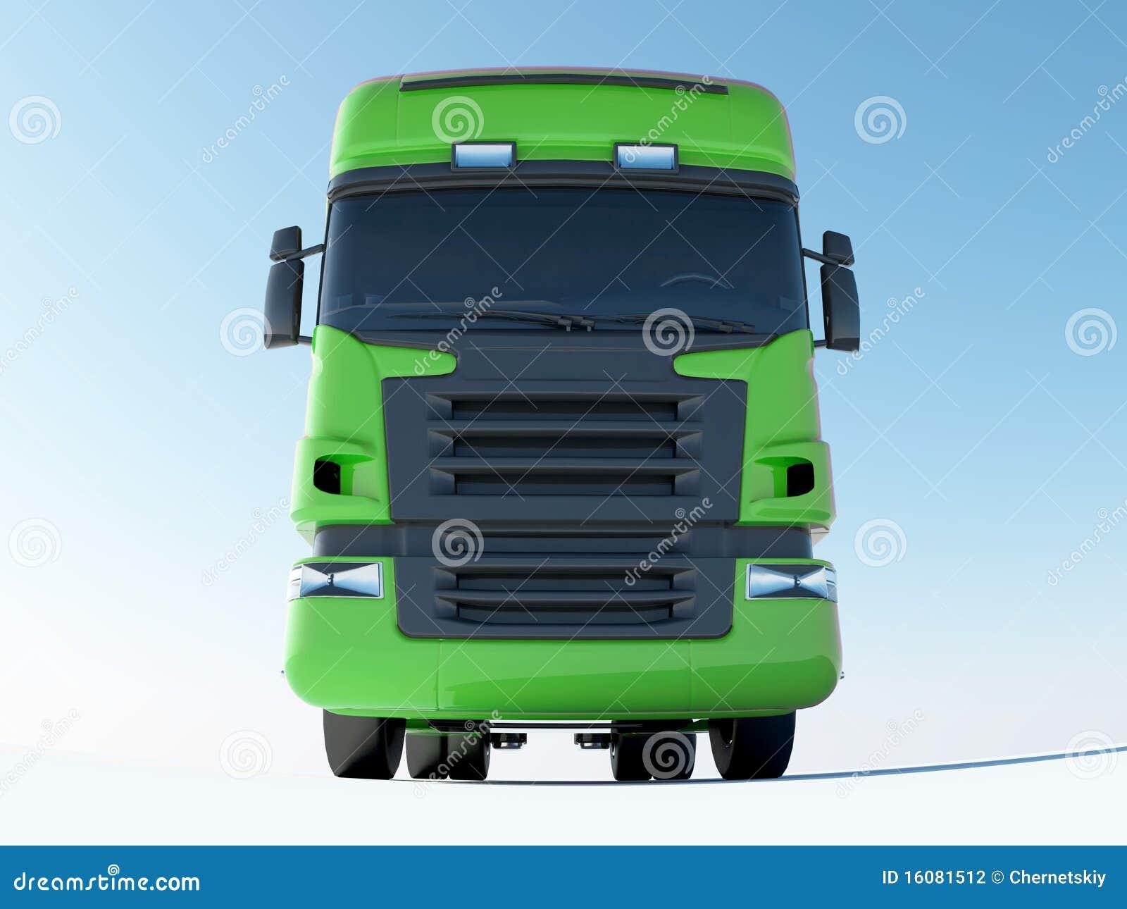 Vista delantera del carro verde
