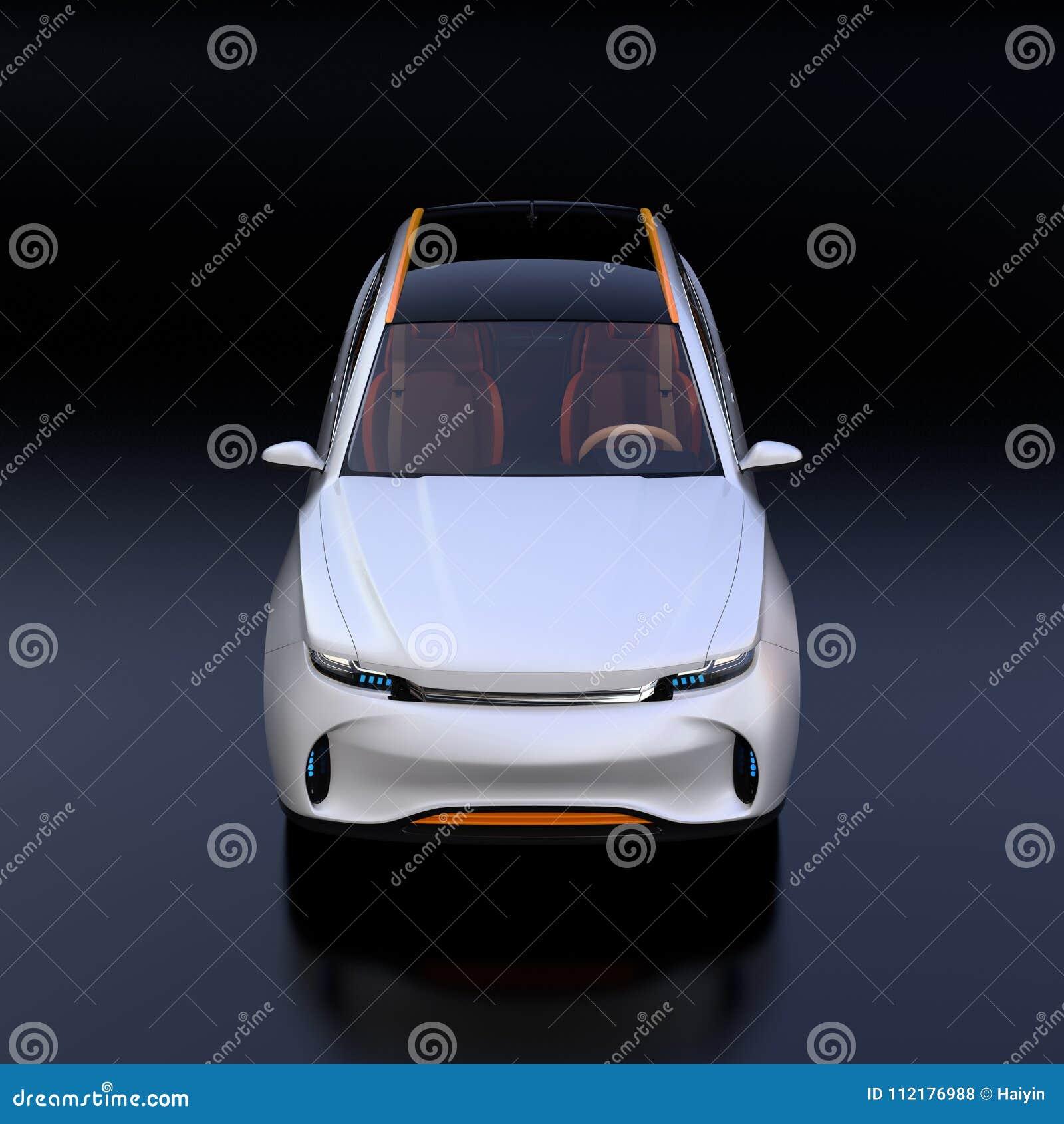 Vista delantera del coche eléctrico blanco del concepto de SUV aislado en fondo negro