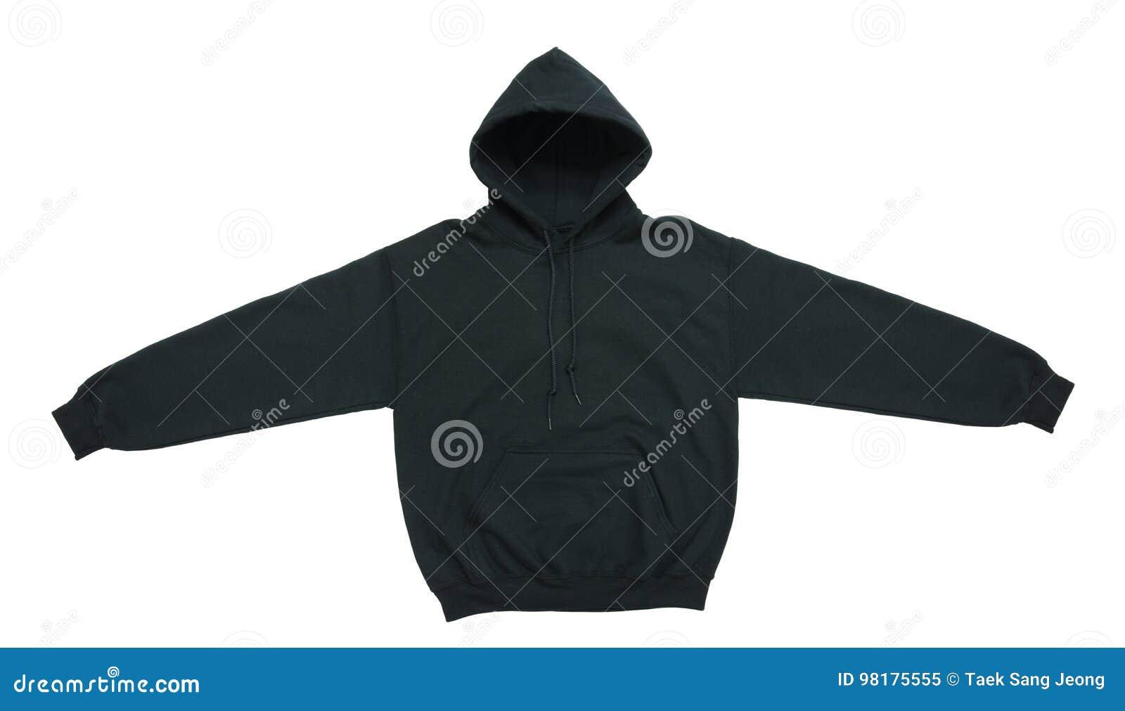Vista delantera del suéter con capucha del negro en blanco del color