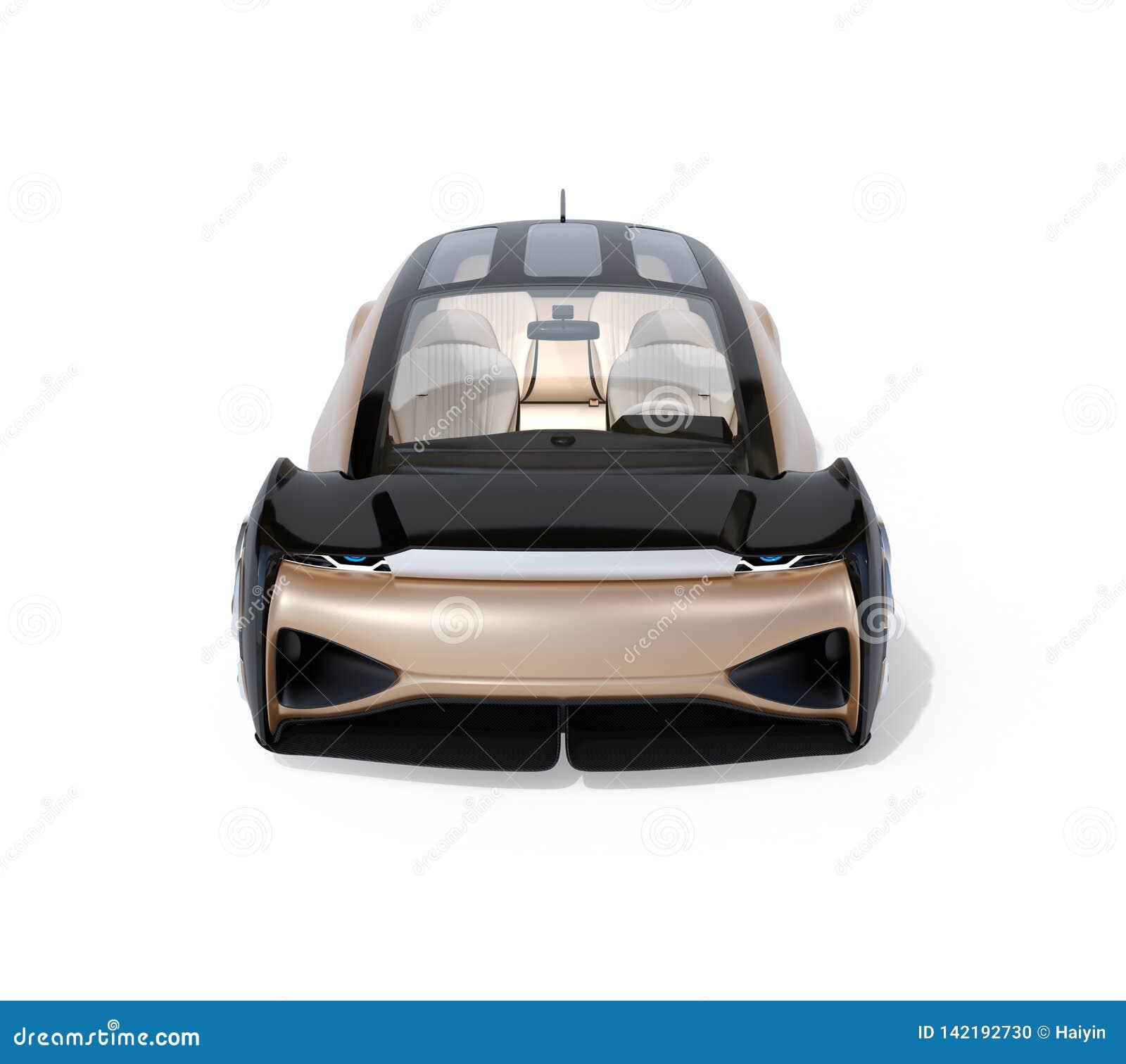 Vista delantera del uno mismo que conduce el coche eléctrico aislado en el fondo blanco