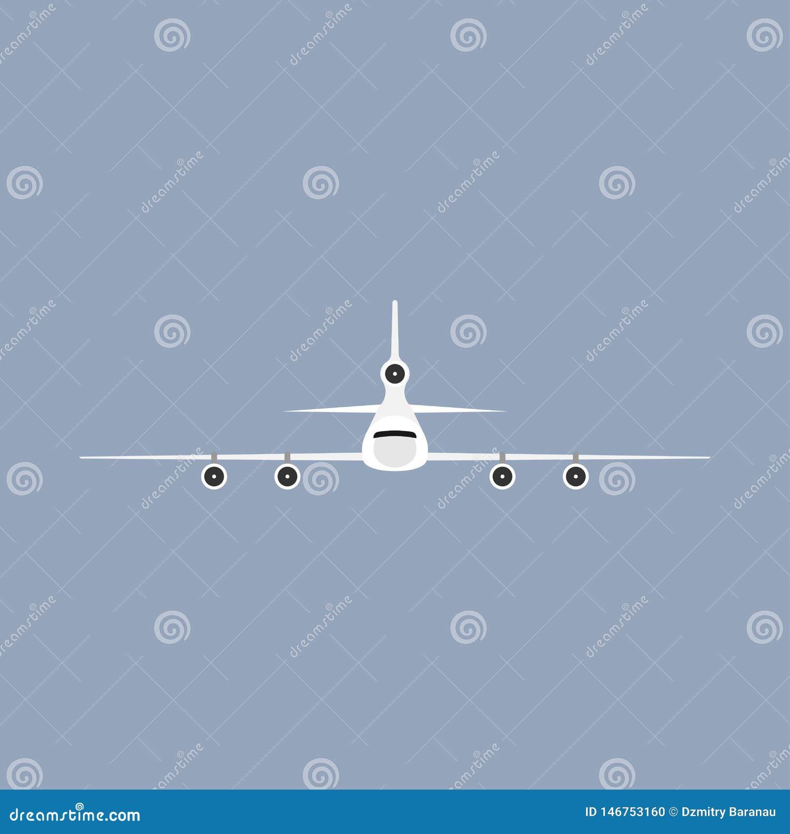 Vista delantera del vehículo del viaje del transporte del vuelo del aeroplano Ejemplo comercial del vector plano