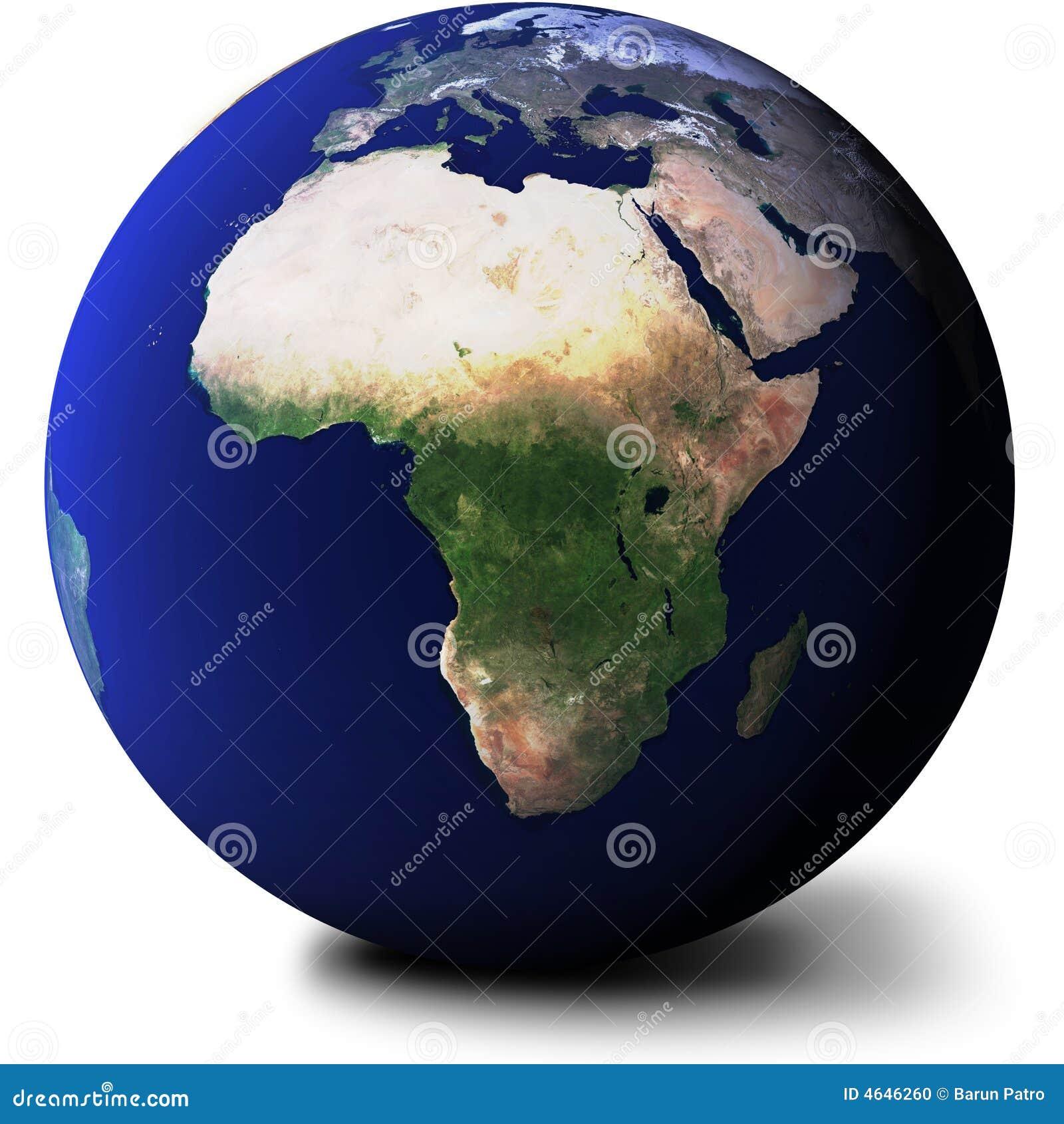 Vista dell Africa sul globo