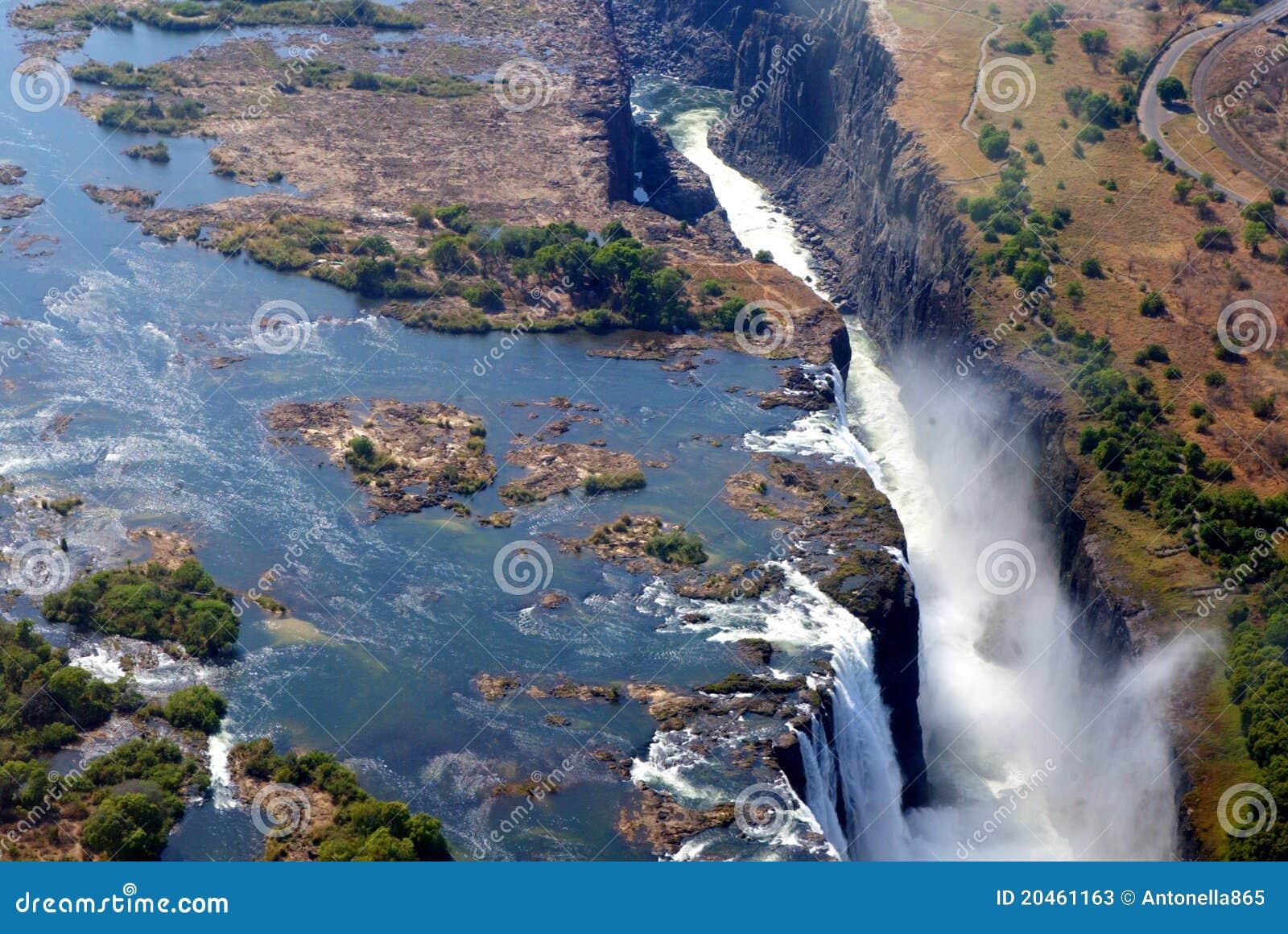 Vista dell aria del Victoria Falls