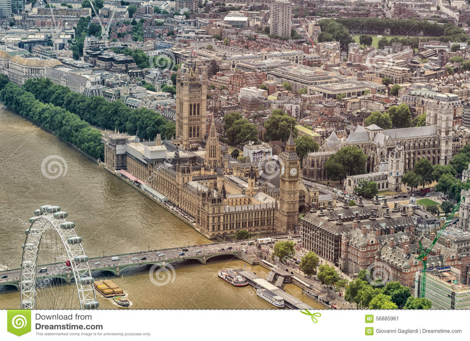 Vista dell elicottero delle Camere di area di Westminster e del Parlamento, Lo