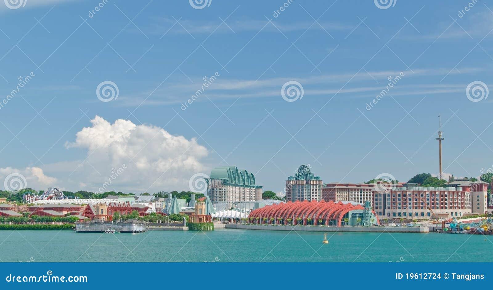 Vista dell 39 isola di sentosa singapore fotografia stock for Cabine dell isola di buggs