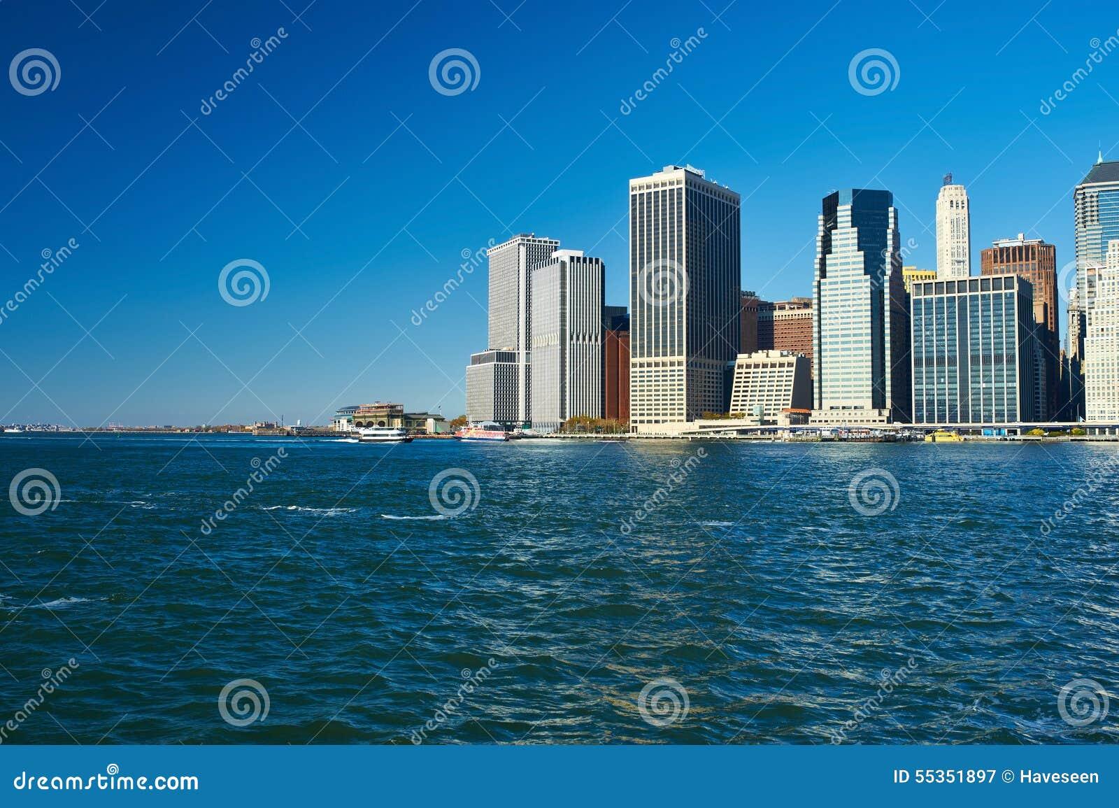 Vista dell orizzonte del Lower Manhattan da Brooklyn