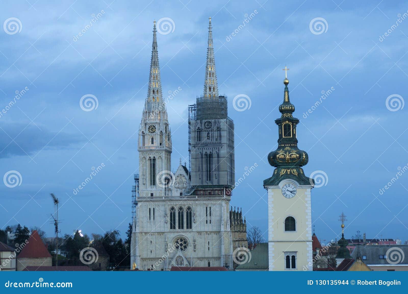 Vista della cattedrale di Zagabria, Croazia