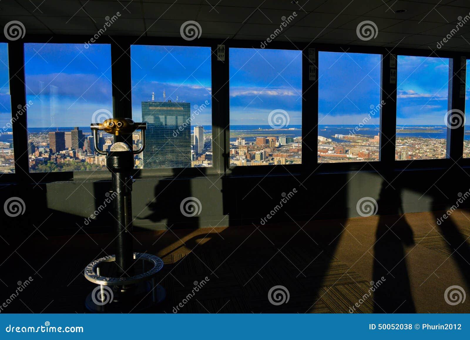 Vista della città di Boston dalla piattaforma di osservazione