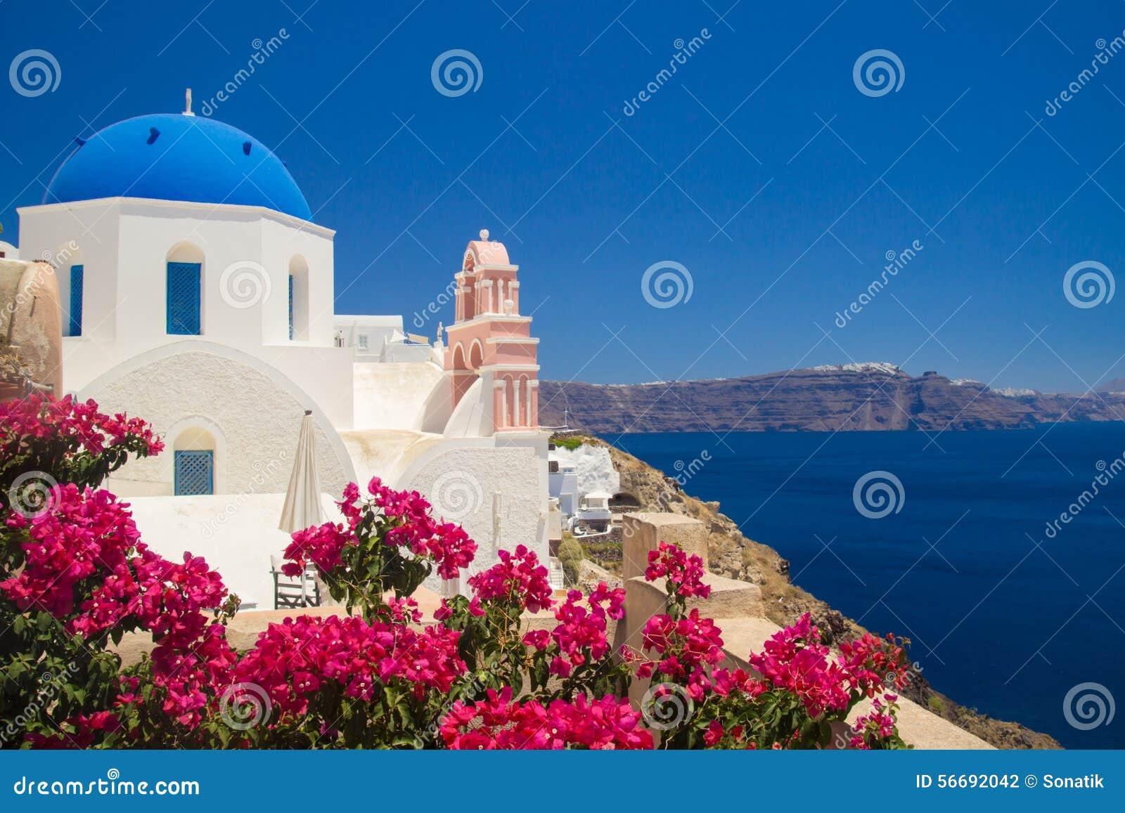 Vista della città di Thira Santorini, Grecia