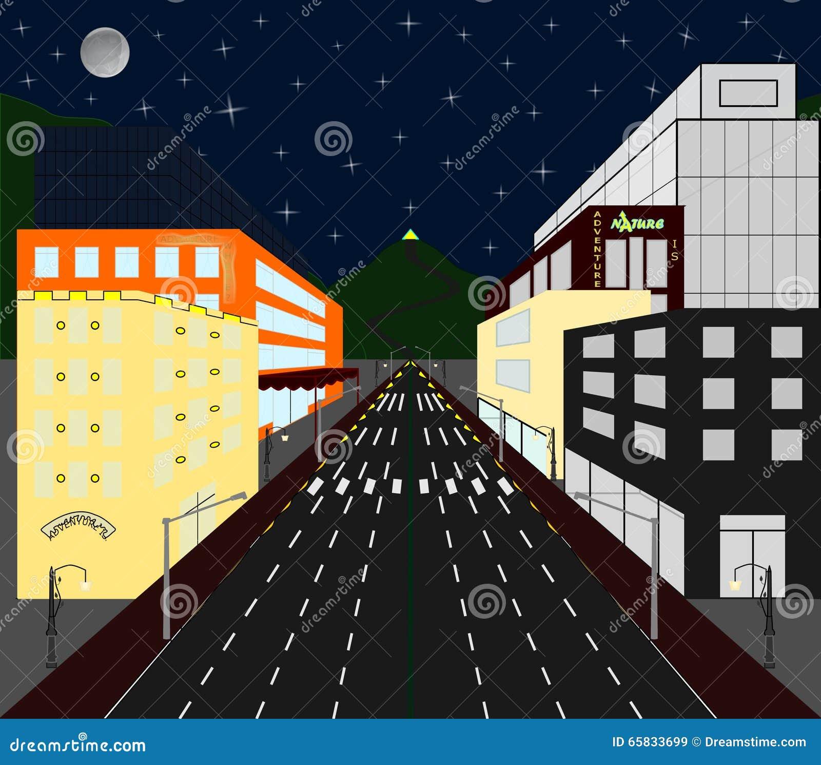 Vista della citt con le case e negozi colorati e for Disegni di case in prospettiva