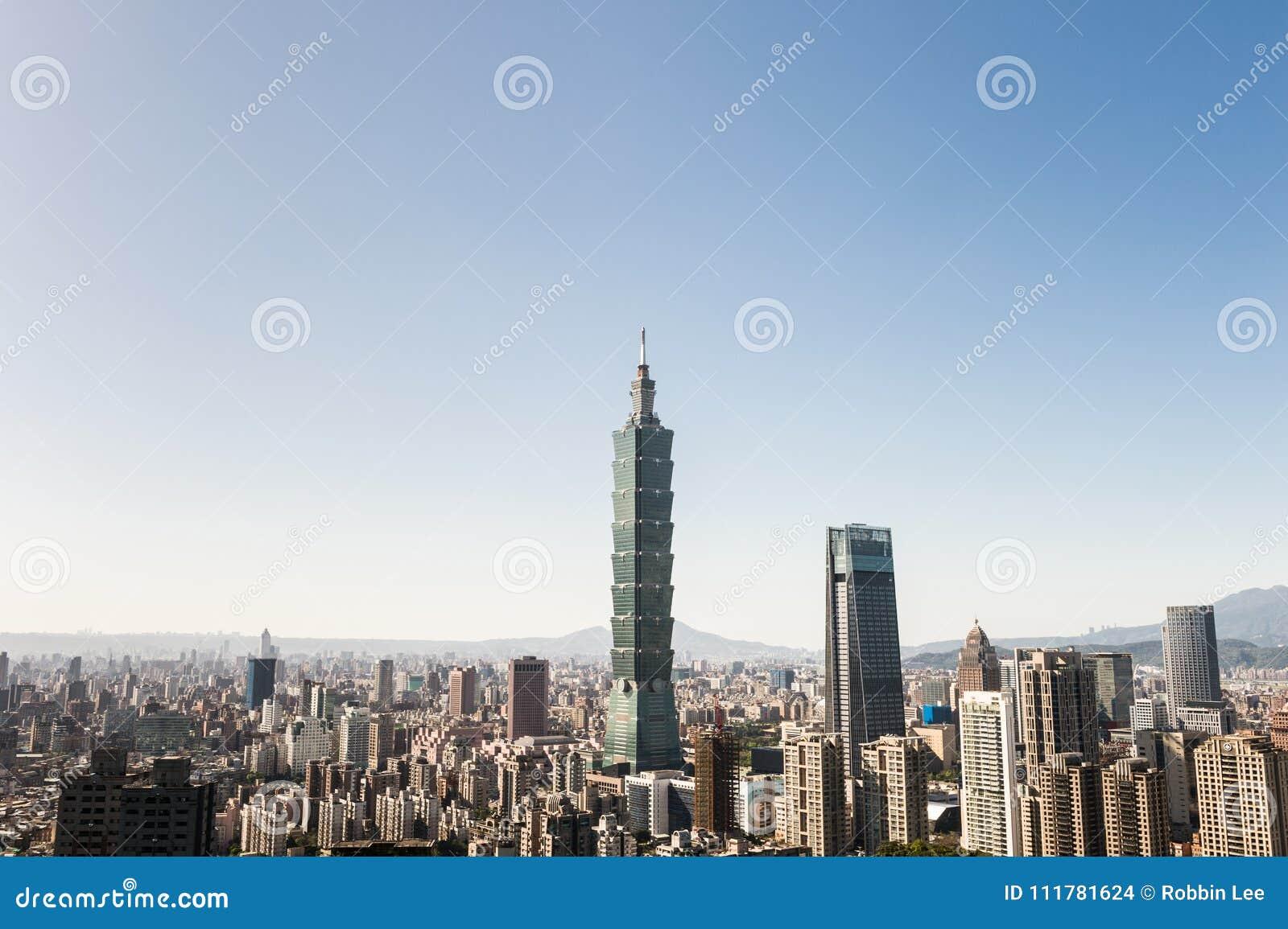 Vista della costruzione del World Trade Center di Taipei 101